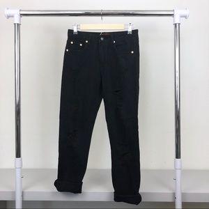 NWT Signature8 Black Distressed Boyfriend Jeans